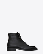 SAINT LAURENT Flat Booties D ARMY 25 ankle boot in black leather f