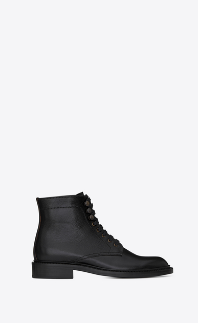 SAINT LAURENT Flat Booties D ARMY 25 ankle boot in black leather a_V4