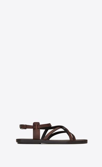 SAINT LAURENT Nu pieds D Sandale NU-PIEDS à lanières en cuir brun a_V4