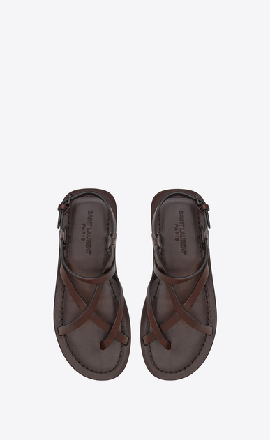 SAINT LAURENT Nu pieds D NU-PIEDS sandals with ties in brown leather b_V4
