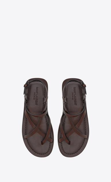 SAINT LAURENT Nu pieds D Sandale NU-PIEDS à lanières en cuir brun b_V4