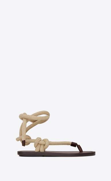 SAINT LAURENT Nu pieds D NU-PIEDS sandals in brown leather with beige cord a_V4