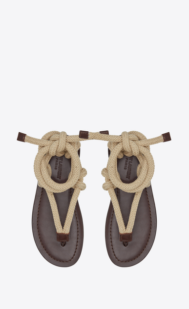 SAINT LAURENT Nu pieds D NU-PIEDS sandals in brown leather with beige cord b_V4
