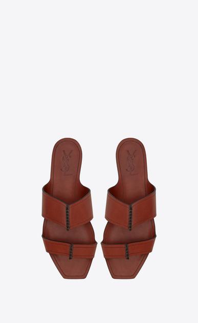 SAINT LAURENT Nu pieds D Sandale SABA en cuir caramel b_V4