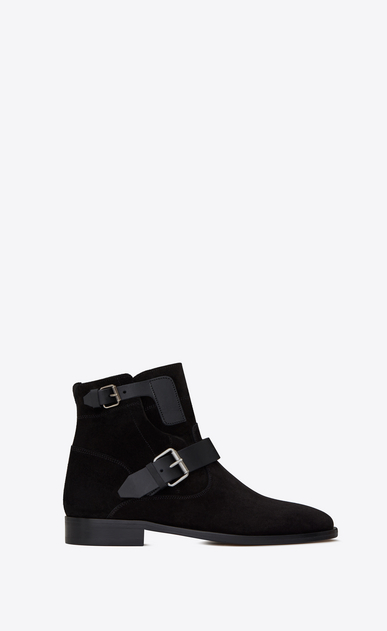 SAINT LAURENT Flat Booties D MATT 10 ankle boots in black suede and leather a_V4