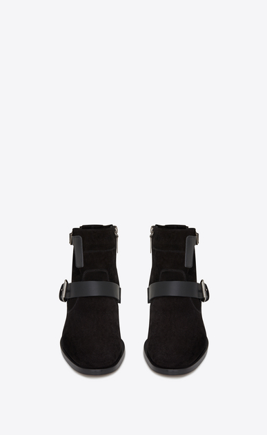 SAINT LAURENT Flat Booties D MATT 10 ankle boots in black suede and leather b_V4