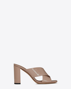 SAINT LAURENT Loulou D LOULOU 95 slipper sandals in beige pink patent leather f