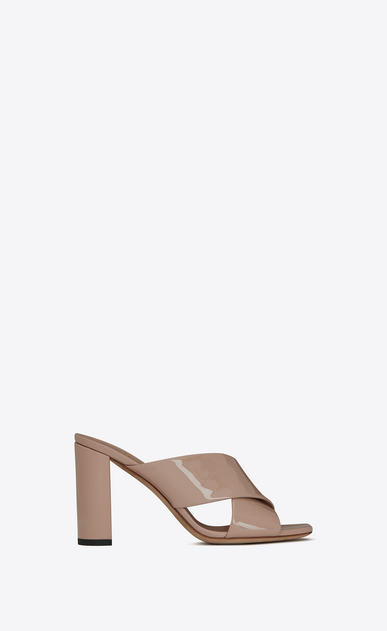SAINT LAURENT Loulou D LOULOU 95 slipper sandals in beige rosé patent leather a_V4