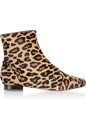 CHARLOTTE OLYMPIA Puss In Boots leopard-print calf hair ankle boots