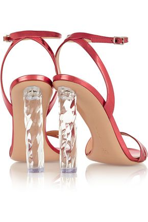 GIANVITO ROSSI Mirrored-leather sandals