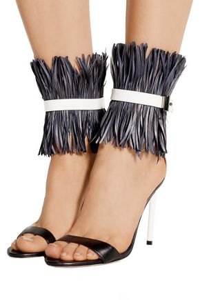 ... REED KRAKOFF Feather-embellished patent-leather sandals ...
