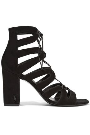 SAINT LAURENT Babies lace-up leather sandals