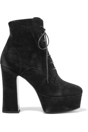 SAINT LAURENT Candy suede platform ankle boots