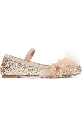 MIU MIU Faux pearl, crystal and feather-embellished glittered leather ballet flats