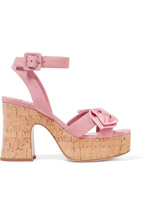 MIU MIU Satin-trimmed suede and cork platform sandals