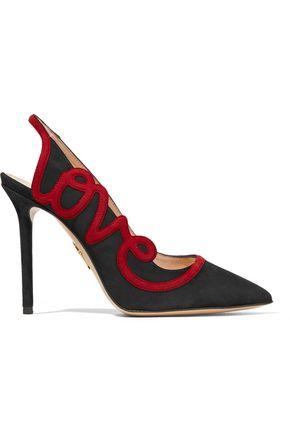CHARLOTTE OLYMPIA Love appliquéd suede slingback pumps