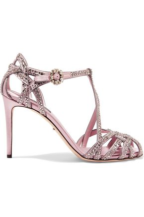 DOLCE & GABBANA Keira crystal-embellished satin sandals