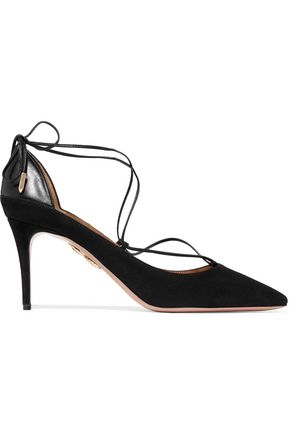 AQUAZZURA Fellini leather-trimmed suede pumps