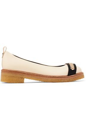 LANVIN Chain-embellished glossed-leather ballet flats