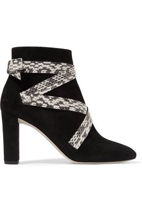 JIMMY CHOO LONDON Heat suede and elaphe ankle boots