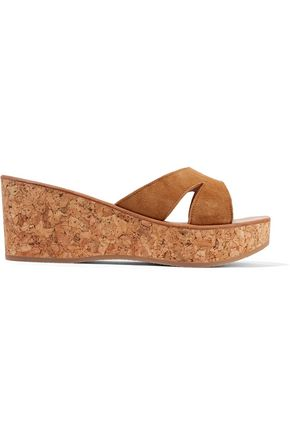 K.JACQUES ST. TROPEZ Kobe suede and cork wedge sandals