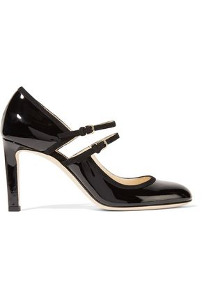 JIMMY CHOO LONDON Micha cutout suede-trimmed patent-leather pumps
