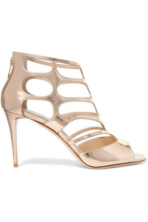 JIMMY CHOO LONDON Ren cutout mirrored-leather sandals