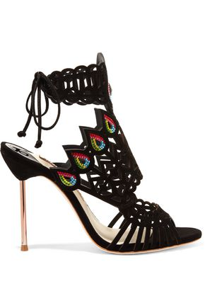 SOPHIA WEBSTER Phaedra crystal-embellished cutout suede sandals