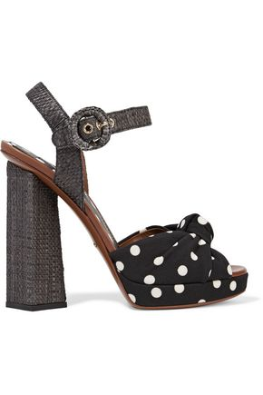 DOLCE & GABBANA Polka-dot canvas and raffia sandals