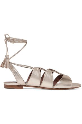 TABITHA SIMMONS Cruz lace-up metallic leather sandals