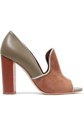MALONE SOULIERS Metallic-trimmed suede and leather pumps