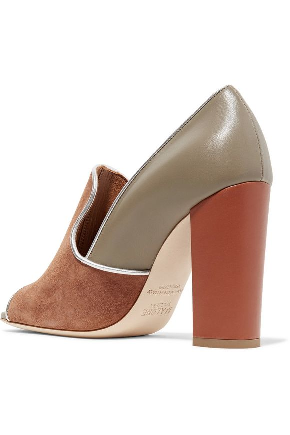 Metallic-trimmed suede and leather pumps | MALONE SOULIERS | Sale up to 70%  off | THE OUTNET