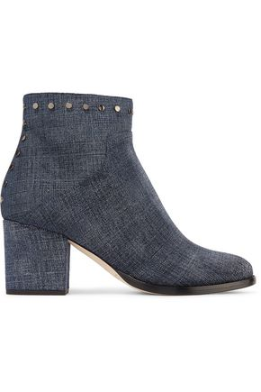 JIMMY CHOO LONDON Melvin studded printed leather ankle boots