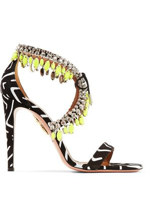 AQUAZZURA Milla crystal-embellished printed suede sandals