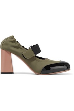 MARNI Patent leather-trimmed neoprene pumps