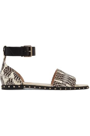 VALENTINO Rockstud leather-trimmed snake sandals