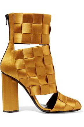 MARCO DE VINCENZO Cutout basketweave satin ankle boots