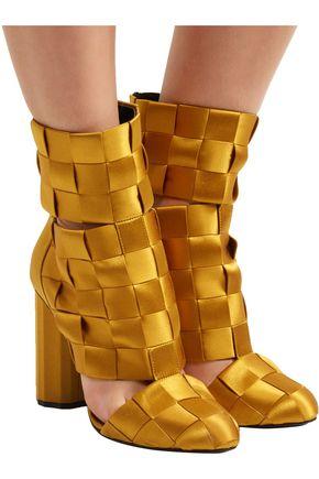 MARCO DE VINCENZO Cutout basketweave satin ankle boots