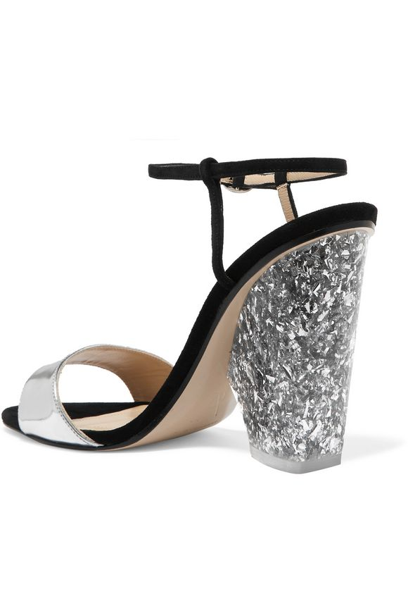 + Edie Parker metallic leather and suede sandals | PAUL ANDREW | Sale up to  70% off | THE OUTNET