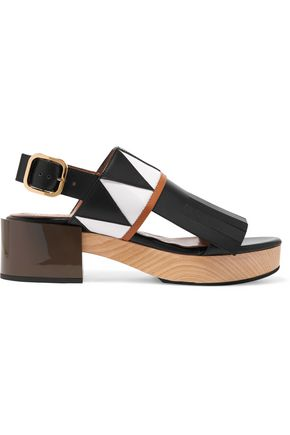 MARNI Fringed smooth and patent-leather slingback sandals