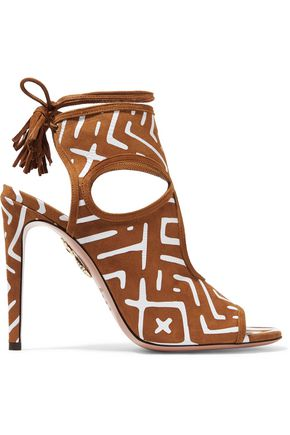 AQUAZZURA Sexy Thing cutout printed suede sandals