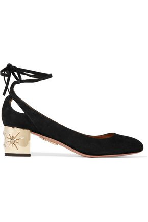 AQUAZZURA Trinity suede pumps