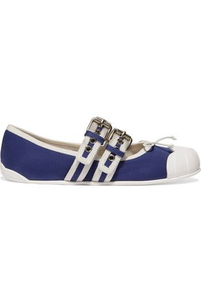 MIU MIU Buckle-embellished canvas ballet flats