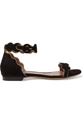 TABITHA SIMMONS Pearl metallic leather-trimmed suede sandals