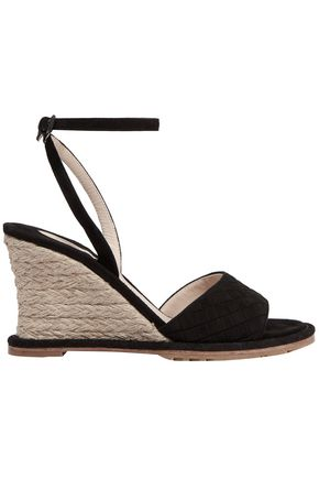 BOTTEGA VENETA Intrecciato suede espadrille wedge sandals