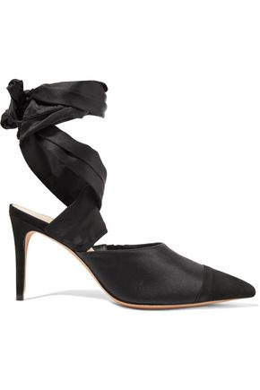 ALEXANDRE BIRMAN Lace-up silk-satin and suede pumps