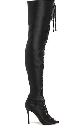 GIANVITO ROSSI Lace-up satin over-the-knee boots