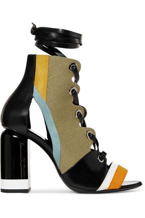 PIERRE HARDY Alchimia paneled leather, suede and canvas sandals