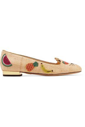 CHARLOTTE OLYMPIA Fruit Kitty embellished raffia ballet flats