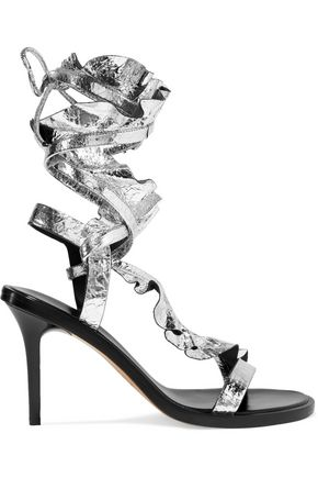 ISABEL MARANT Ansel ruffled metallic cracked-leather sandals